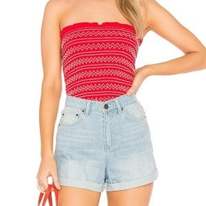 BRIGHT RED TUBE TOP